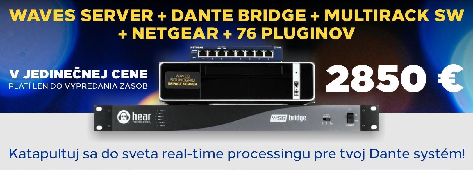 Waves server + Dante bridge + MultiRack SW + Netgear + 76 pluginov